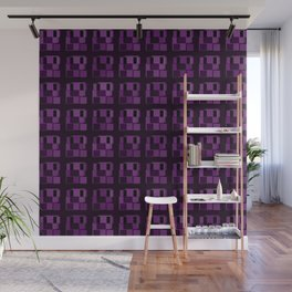 Dark tile of violet intersecting rectangles and interweaving bricks. Wall Mural