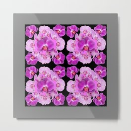 Black-Grey Color Abstracted Modern Purple Moth Orchids Metal Print