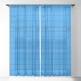 Library Card BSS 28 Blue Sheer Curtain