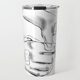 BLACK AND WHITE HANDS WITH PLASTERS Travel Mug