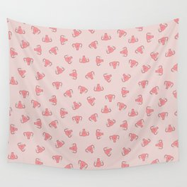 Crazy Happy Uterus in Pink, small repeat Wall Tapestry