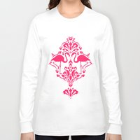 damask Long Sleeve T-shirts featuring Flamingo Damask by Jacqueline Maldonado