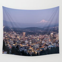 Portland Evening Urban Cityscape With Mt Hood Wall Tapestry
