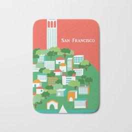 San Francisco, California - Skyline Illustration by Loose Petals Bath Mat