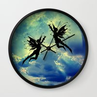 fairies Wall Clocks featuring Moon Fairies by haroulita