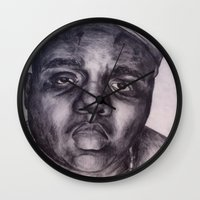 biggie Wall Clocks featuring BIGGIE by Tara Dacle