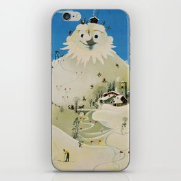 Vintage Adelboden Switzerland Travel Poster - Snowman iPhone Skin