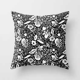 Funky Vintage Floral // Monochrome Black and White // Color Your Own Flower Garden Throw Pillow