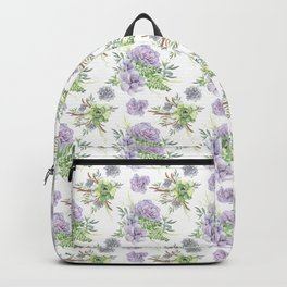 Succulents Pattern Purple and Green Backpack