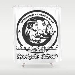 Arnold Schwarzenegger Venice Beach Muscle Beach Shower Curtain