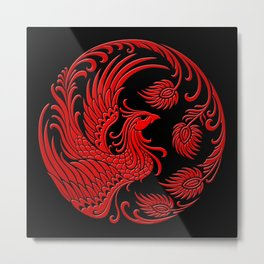 Traditional Red and Black Chinese Phoenix Circle Metal Print