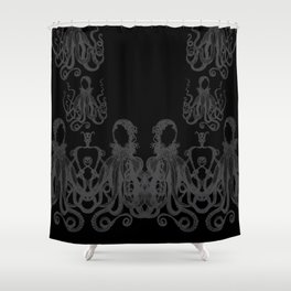Octopus Black and Gray Shower Curtain