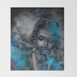 Krishna The mischievous one - The Hindu God Throw Blanket