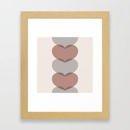 Hearts - Cocoa & Gray Framed Art Print