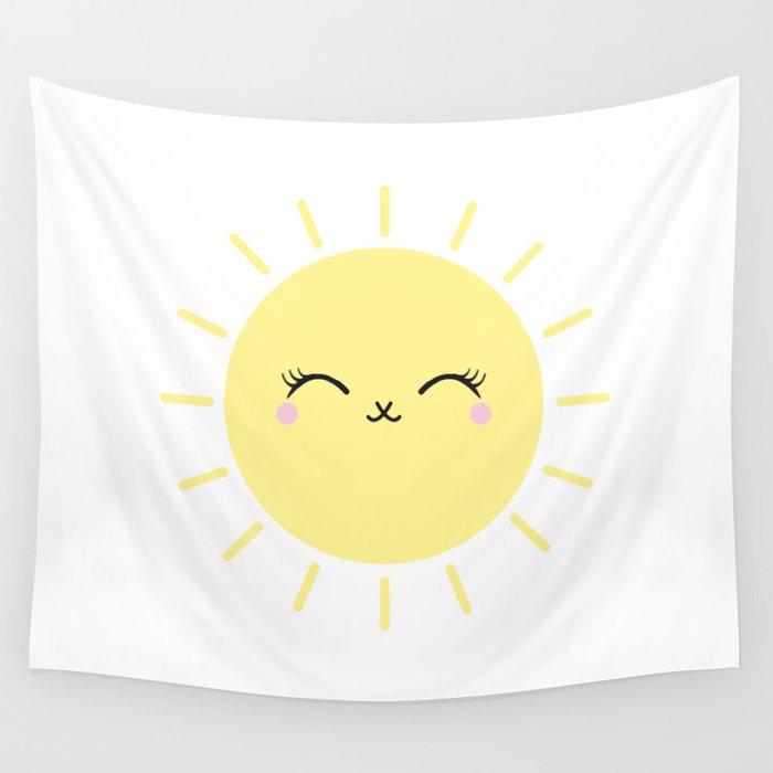Sun Cute Eyes Wall Tapestry