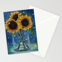 Lightning Bugs and Sunflowers Stationery Cards