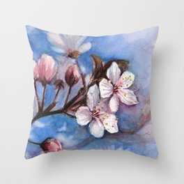 Cherry Blossoms Watercolor Spring Flowers Throw Pillow