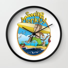 Surfing Monkey Wall Clock