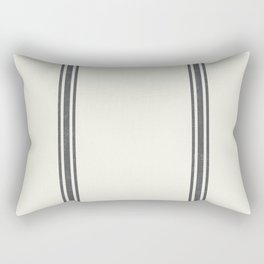 Grey Stripes on Creme background French Grainsack Distressed Country Farmhouse Rectangular Pillow