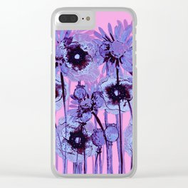 blue flowers on pink background Clear iPhone Case
