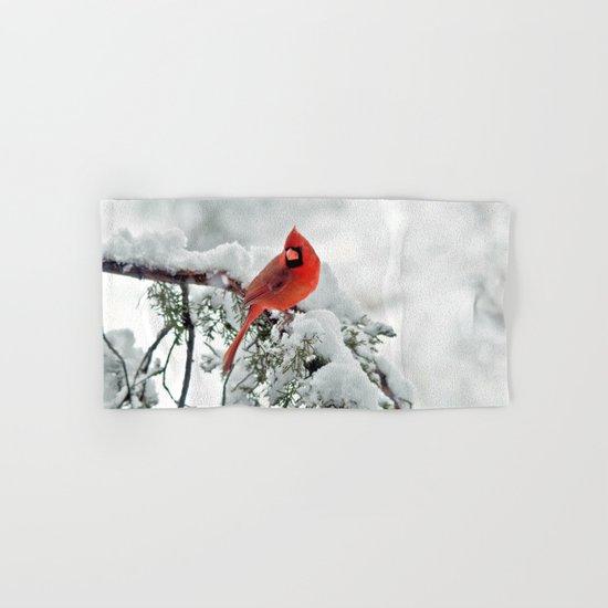 Cardinal on Snowy Branch #2 Hand & Bath Towel