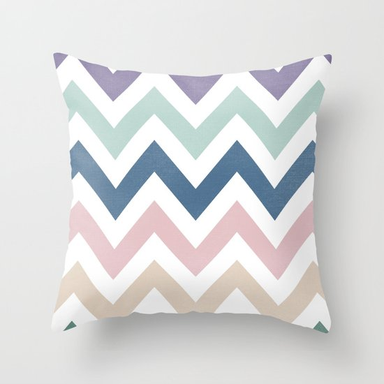 MUTED CHEVRON {COOL TONES} Throw Pillow