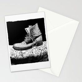 A Worn Out Boot Shows on Display Stationery Cards