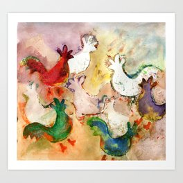 Pecking Chickens Art Print