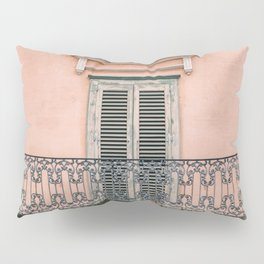 Old doors and balcony on a coral pink background in Italy Pillow Sham
