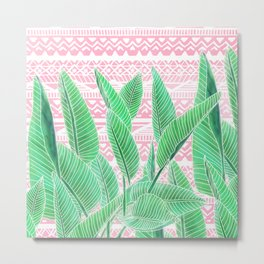 Summer green watercolor tropical leaf white pink aztec geometric pattern Metal Print