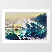 fishing Art Prints featuring fishing by KrisLeov