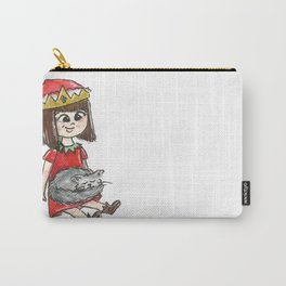 Little christmas elf with her sleeping gray cat Carry-All Pouch