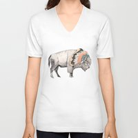 headdress V-neck T-shirts featuring White Bison by Sandra Dieckmann