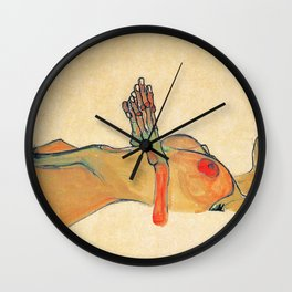Egon Schiele - Orange knuckles and nipples (new color edit) Wall Clock