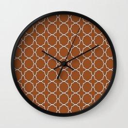 Brown Quatrefoil Pattern Wall Clock