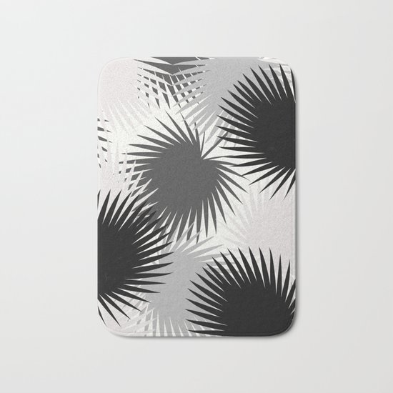 Black and White Tropical Leaves Bath Mat