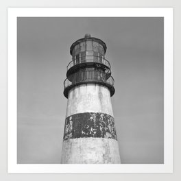 Cape Disappointment Lighthouse Gargoyles Victorian Architecture Black and White Northwest Ocean Art Print