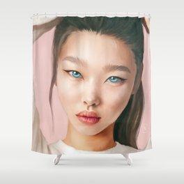 Asian beauty. Blue eyes. Fine art. Digital painting Shower Curtain