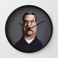 john snow Wall Clocks featuring Celebrity Sunday ~ John Goodman by rob art | illustration