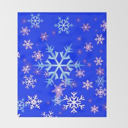 DECORATIVE BLUE  & WHITE SNOWFLAKES PATTERNED ART Throw Blanket