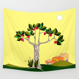 A Pomegranate Tree in Israel in the Day Wall Tapestry