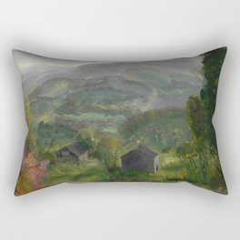 """George Wesley Bellows """"Old Barn - Grey Day"""" Rectangular Pillow"""