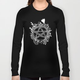 Pentacle Wreath Witchy Pagan Goth Long Sleeve T-shirt