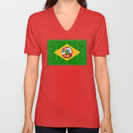 football field and ball with flags Unisex V-Neck