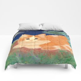 Moonlight Orange Cat Comforters