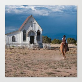 Western Cowboy Riding Horse To Church Canvas Print