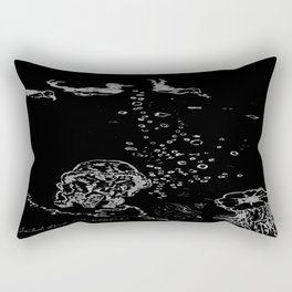 Two Tailed Duck and Jellyfish Black and Dark Deep Sea Rectangular Pillow