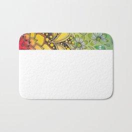 Zentangle Inspired Art (ZIA) with rainbow background Bath Mat