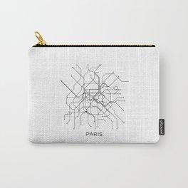 Paris Metro Map Subway Map Paris Metro Graphic Design Black And White Canvas Metropolian Art Carry-All Pouch