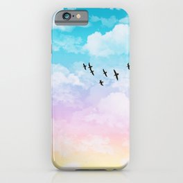 Little Fluffy Clouds Pastel Sky with Birds iPhone Case